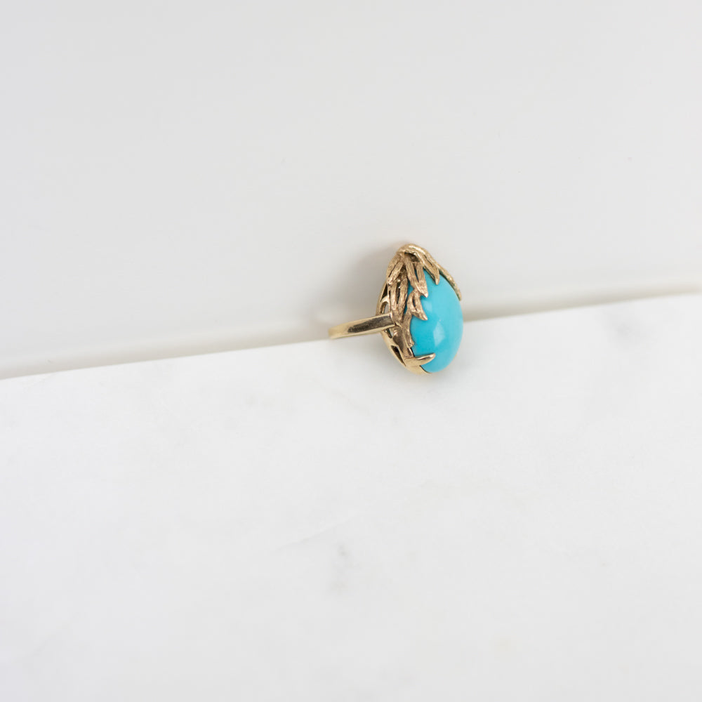 Estate Collection Ring - Turquoise Stone Set in 14K Yellow Gold