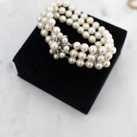 Estate Collection Bracelet  - Vintage 14K White Gold and Pearls