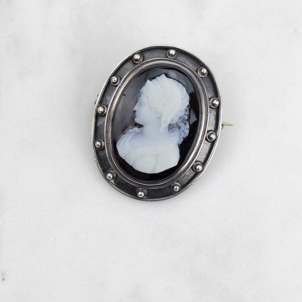 Estate Collection Brooch - Vintage Sterling and Onyx Cameo