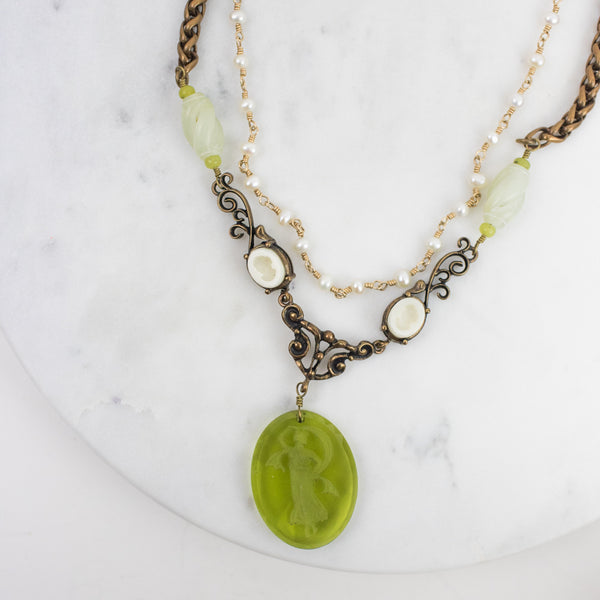Estate Collection Necklace - Glass Intaglio Cameo