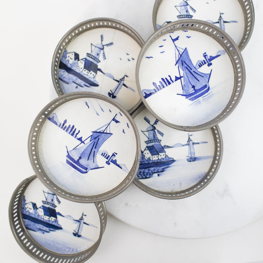 Estate Collection Coasters - Hand Painted German Delft Coasters