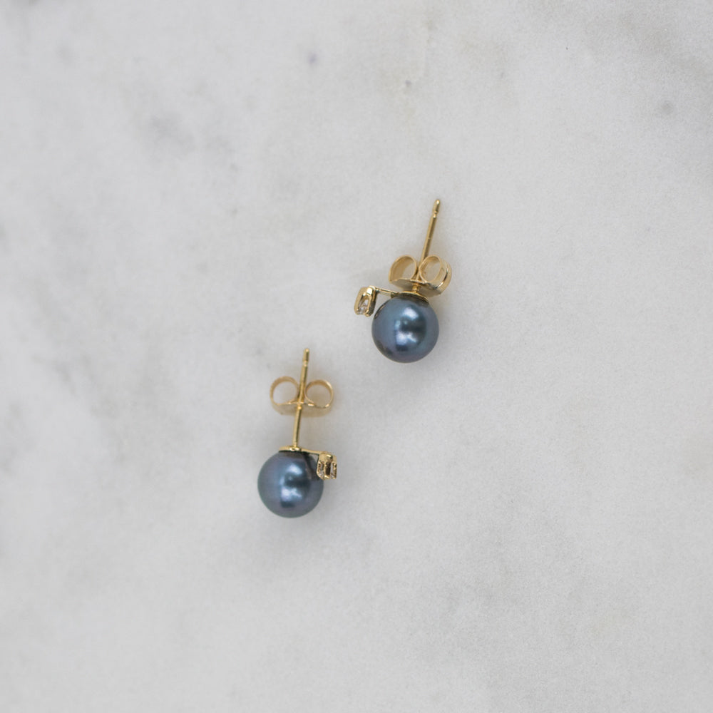 Estate Collection Earrings - 14K Gold, Cultured Pearl & Diamond Stud Earrings