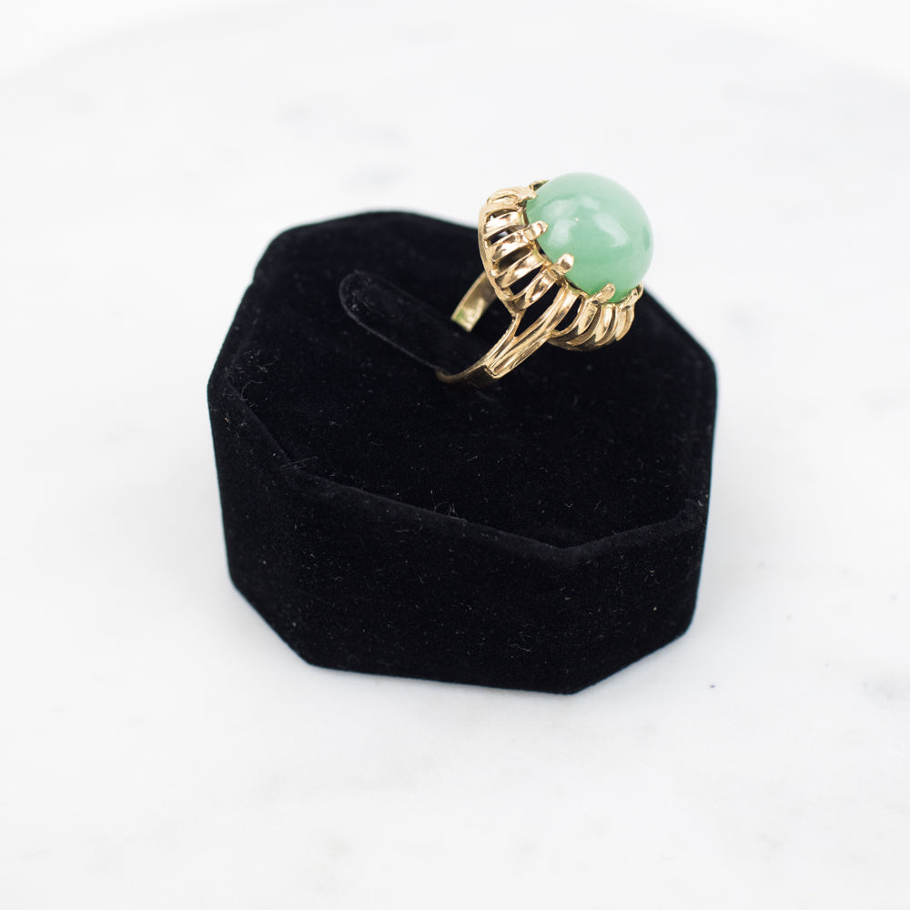 Estate Collection Ring- Vintage 14K Yellow Gold w/Jadeite Oval Cabochon