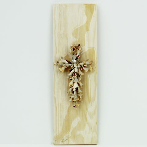 Handmade Seashell Crosses on Wood