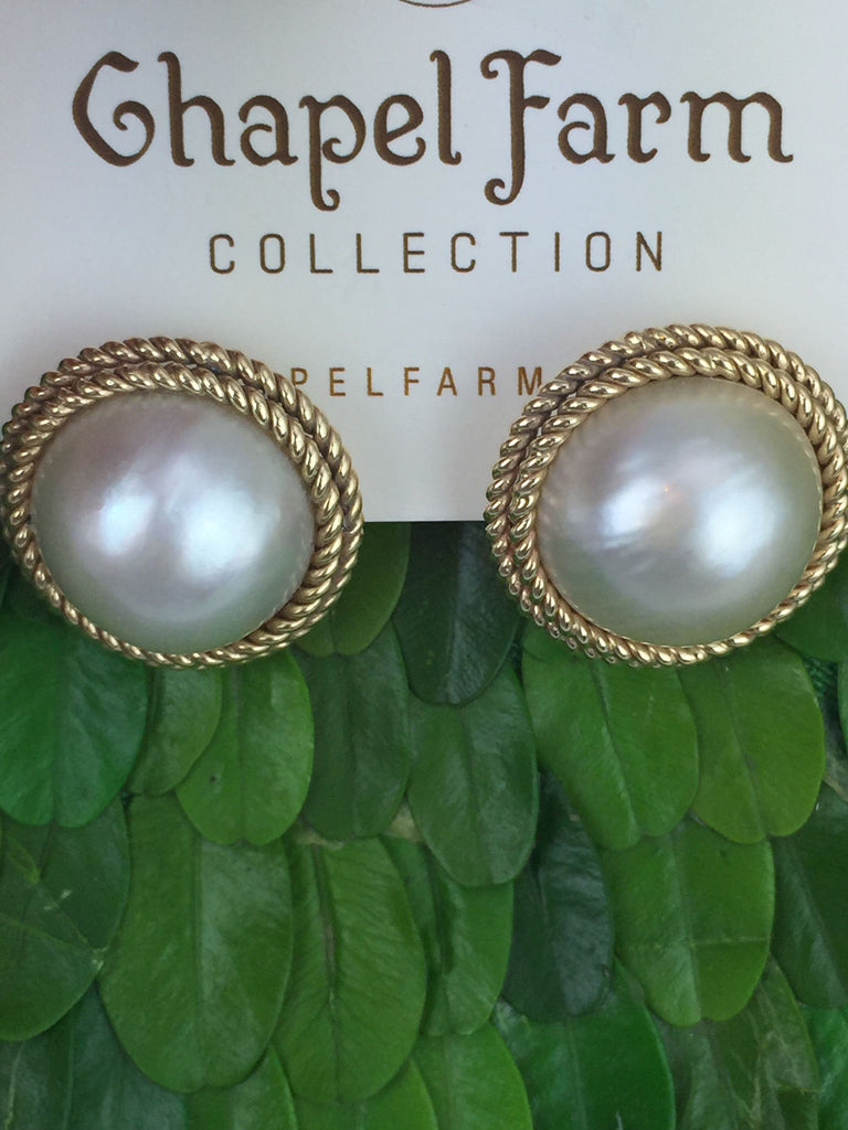 Estate Collection Large Mabe Pearl Earrings W/14K Gold Rope Design