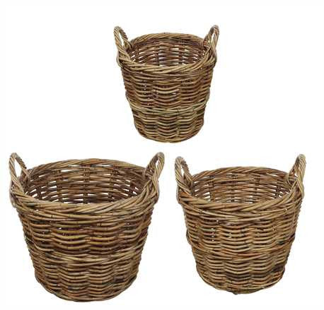 Round Rattan Baskets w/Handles 3 Sizes to Choose From