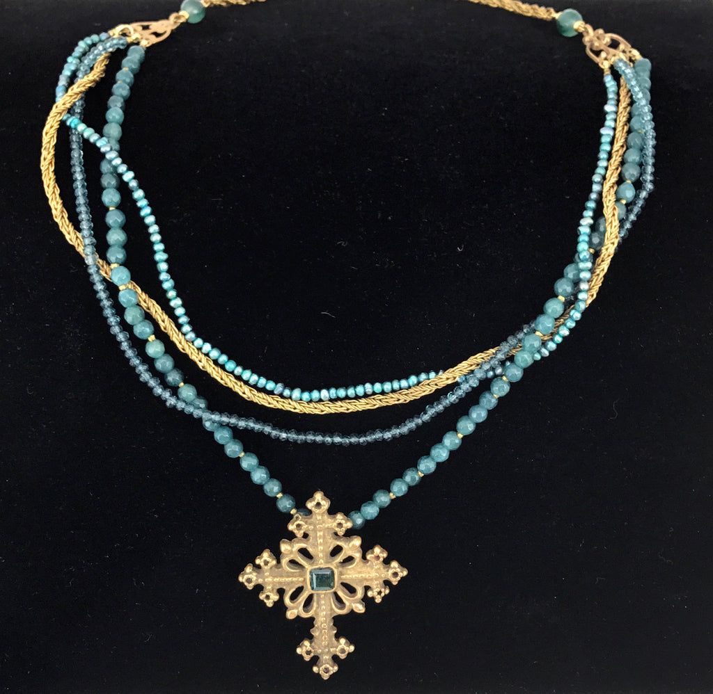 Cross w/Blue Qtz on 4 Stand Qtz,Pearl,Vintage Chain