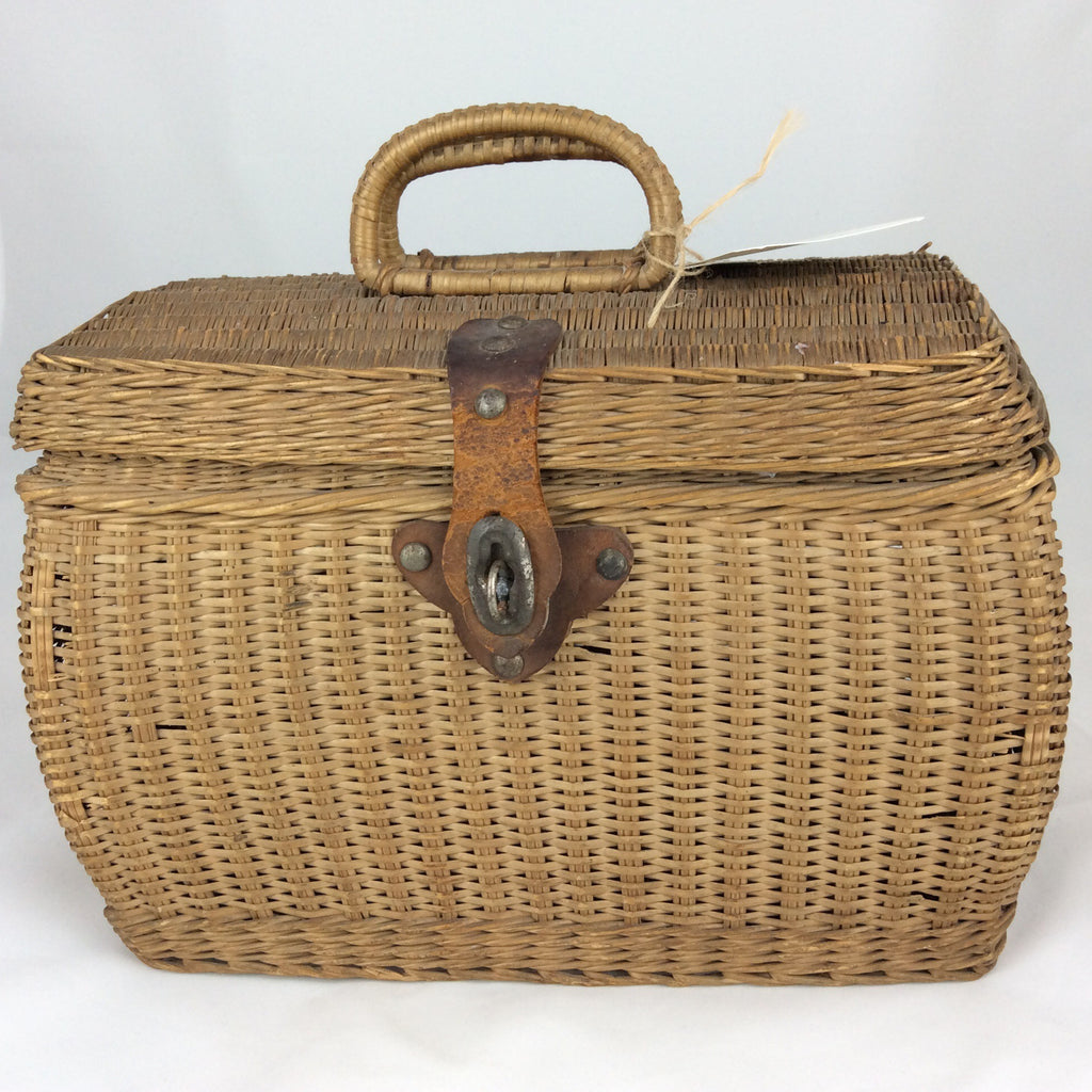 Estate Collection 19th Century Basket w/Leather Trim