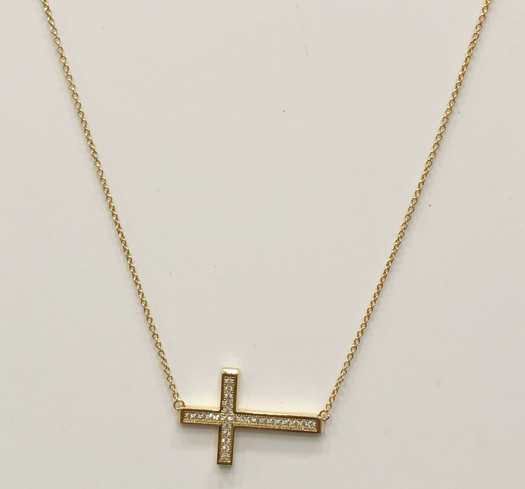Outlined Pave Cross Necklace