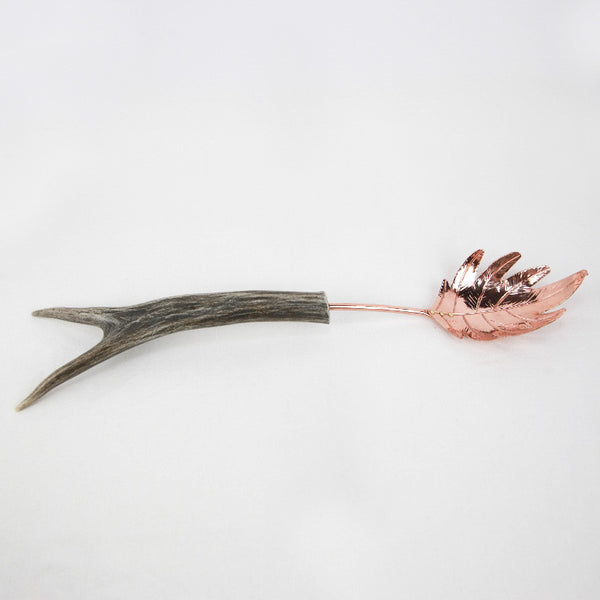 Copper Pasta Server Forked with Antler