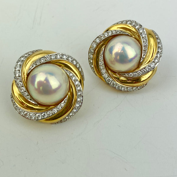 Estate Collection Earrings - Mikimoto 18Kt Gold Diamond & Mabe Pearl Earrings