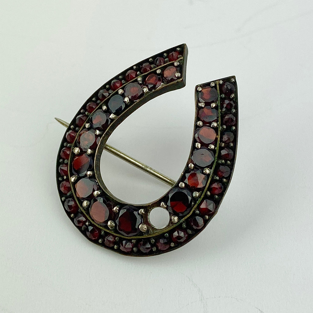 Estate Collection Brooch -Horseshoe Pin w/Garnets