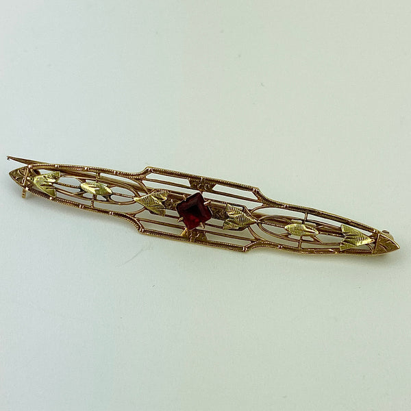 Estate Collection Brooch - Rose & Yellow Gold Bar Pin w/Red Stone