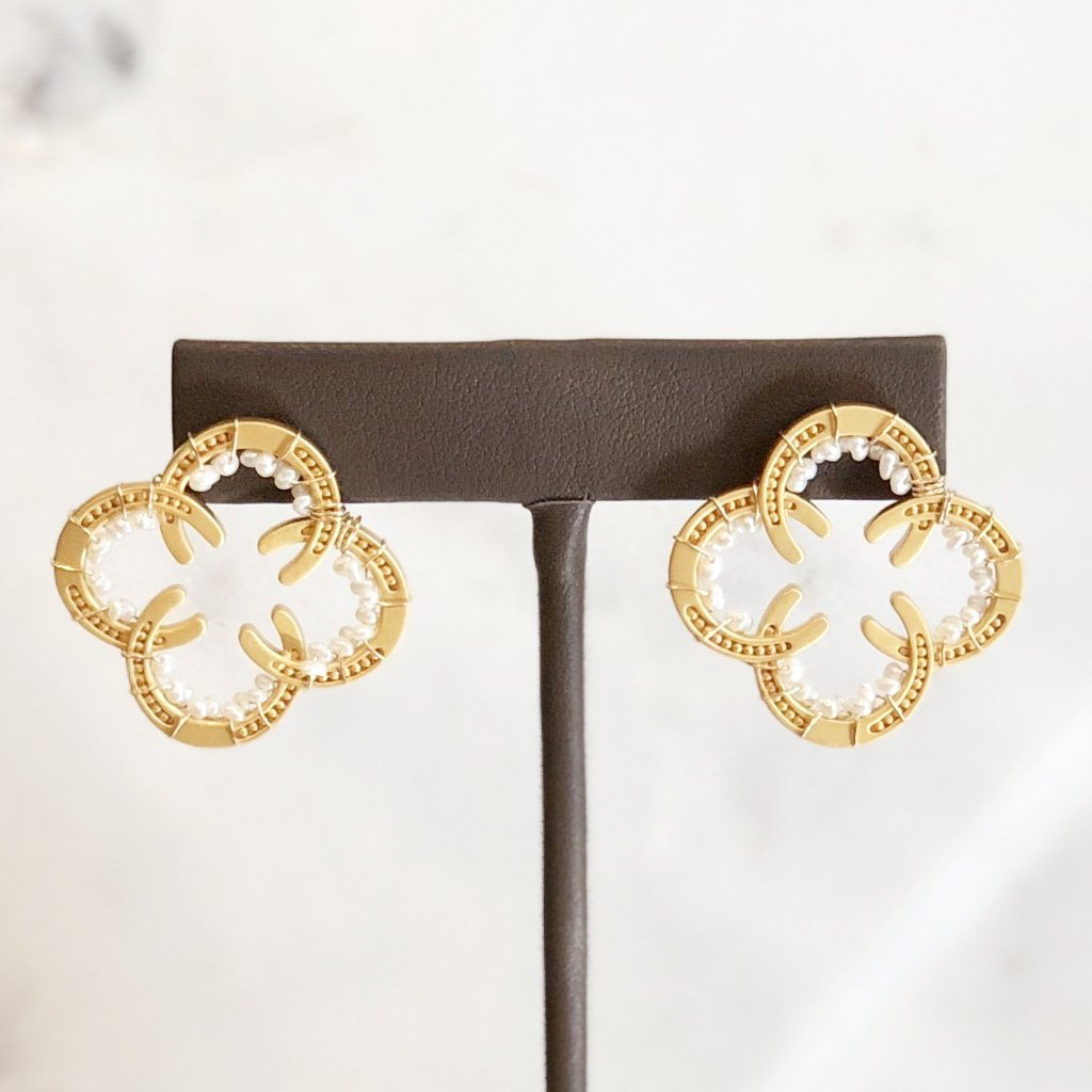 Gold Plate Horseshoe Earrings with Stones