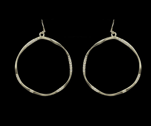 Hoop Earring w/Scattered Pave