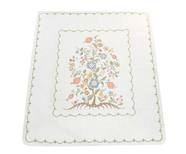 Estate Collection Quilt - Floral Tree of Life Cross Stitch Embroidered Quilt
