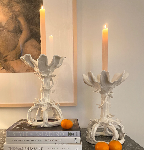 Hand Crafted Magnolia Faux Bois Ceramic Candlesticks