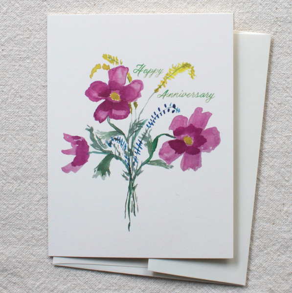 Greeting Card - Anemone Bouquet - Happy Anniversary