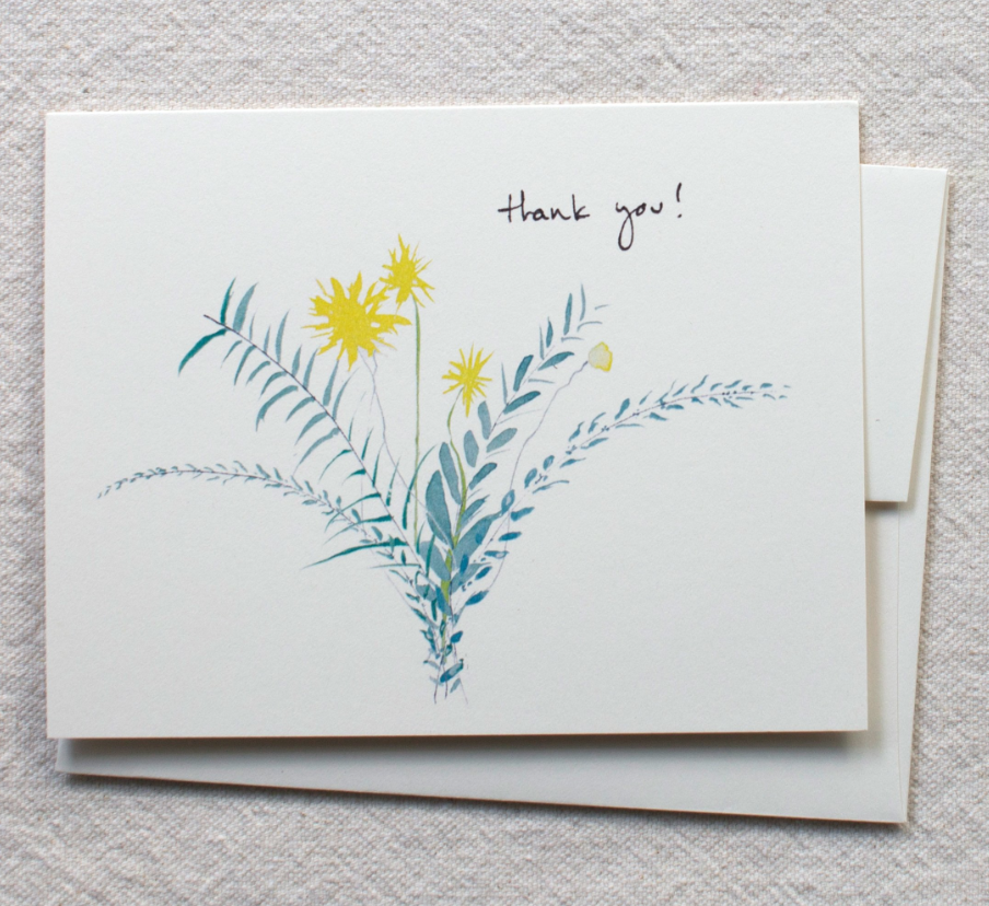 Greeting Card - Yellow & Blue Bouquet - Thank You