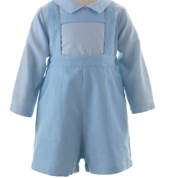 Babycord Shorts Set - Blue & Ivory