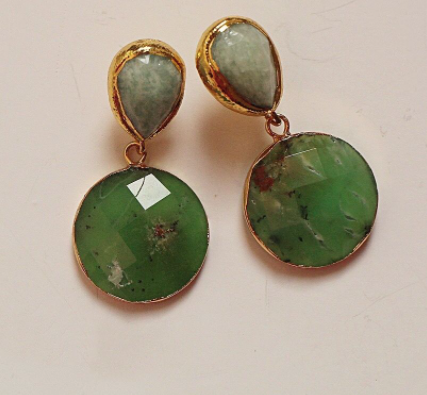 Amazonite and Chrysoprse Earrings