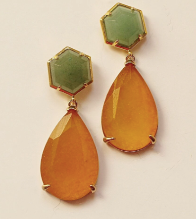 Green Aventurine and Amber Agate Earrings