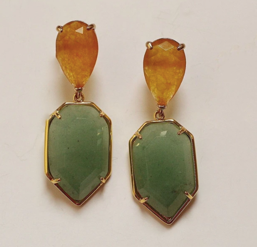 Amber Agate and Green Aventurine Earrings