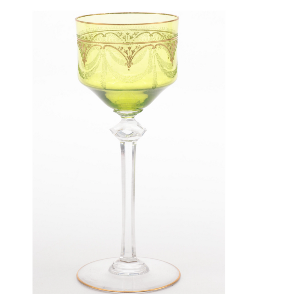 Estate Collection Bohemian Enameled Gilt Green Glass Alsace Glass