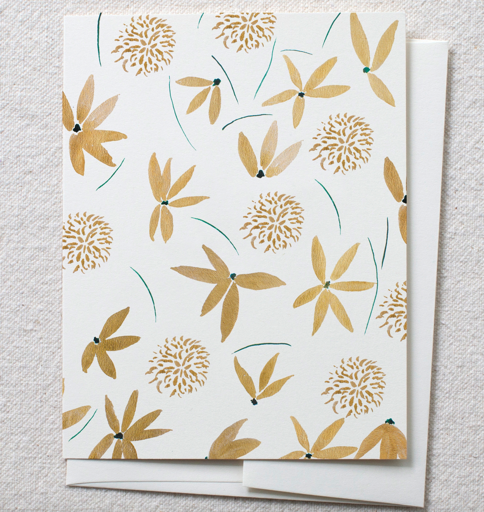 Greeting Card - Gold Floral - Blank