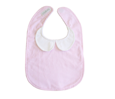 Bib - Peter Pan Collar Bib in Pink Stripe