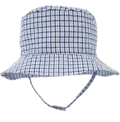 Blue Plaid Seersucker Bucket Hat