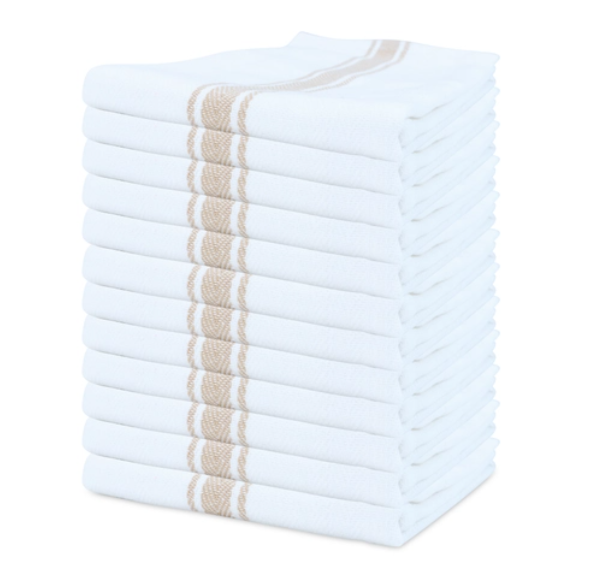 12 Pack of Striped Cotton Kitchen Tea Towels - Tan