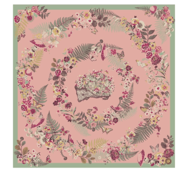 Floral Hedgehog Satin Square