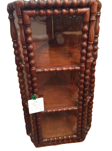 Antique Hanging Spool Framed Corner Cabinet