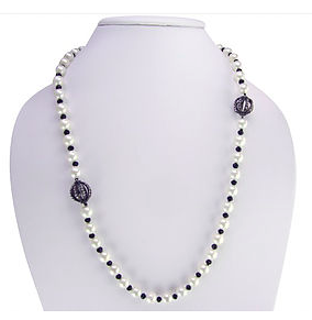 8MM Pearls with Black Crystals and Pave Orbs Necklace