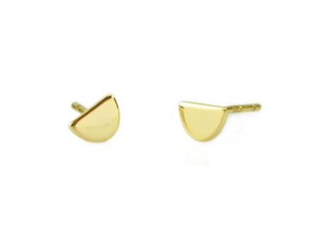 Half Moon Stud Earrings 18K Gold Vermeil