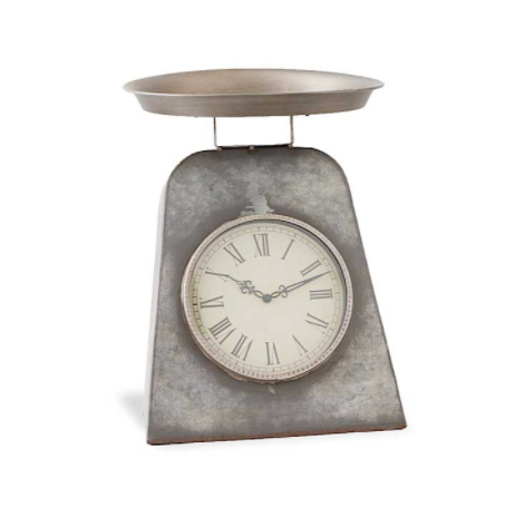 Grey Metal Antique Scale w/Clock