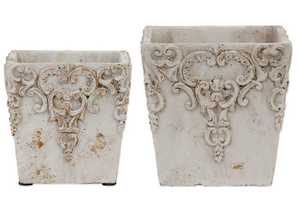 Pot - Square White Ceramic Embossed Pots