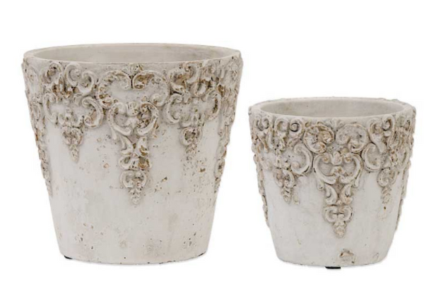 Pot - Short Round White Ceramic Embossed Pots