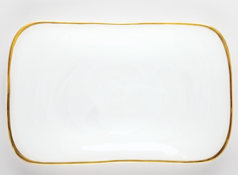 Alabaster White w/Gold Edge Rectangular Platter