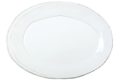 Lastra Small White Oval Platter
