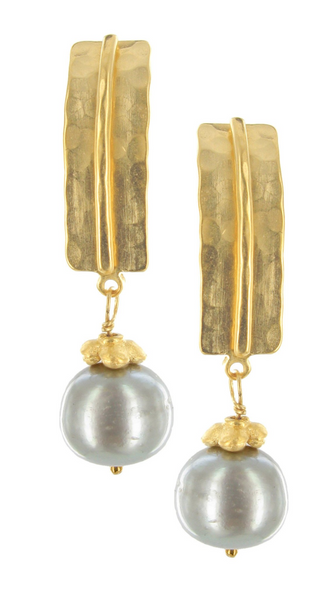 Gold Hammered Bar w/Freshwater Pearl on Post Earrings