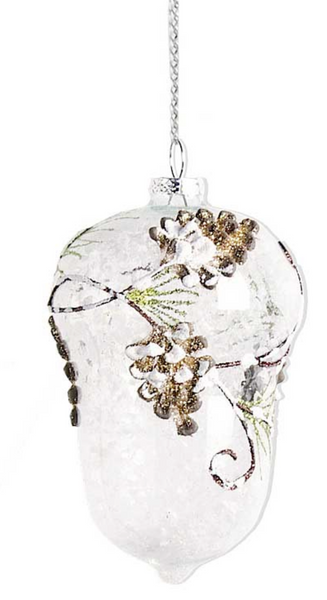 Clear Glass Acorn W/Pinecone & Evergreen Details