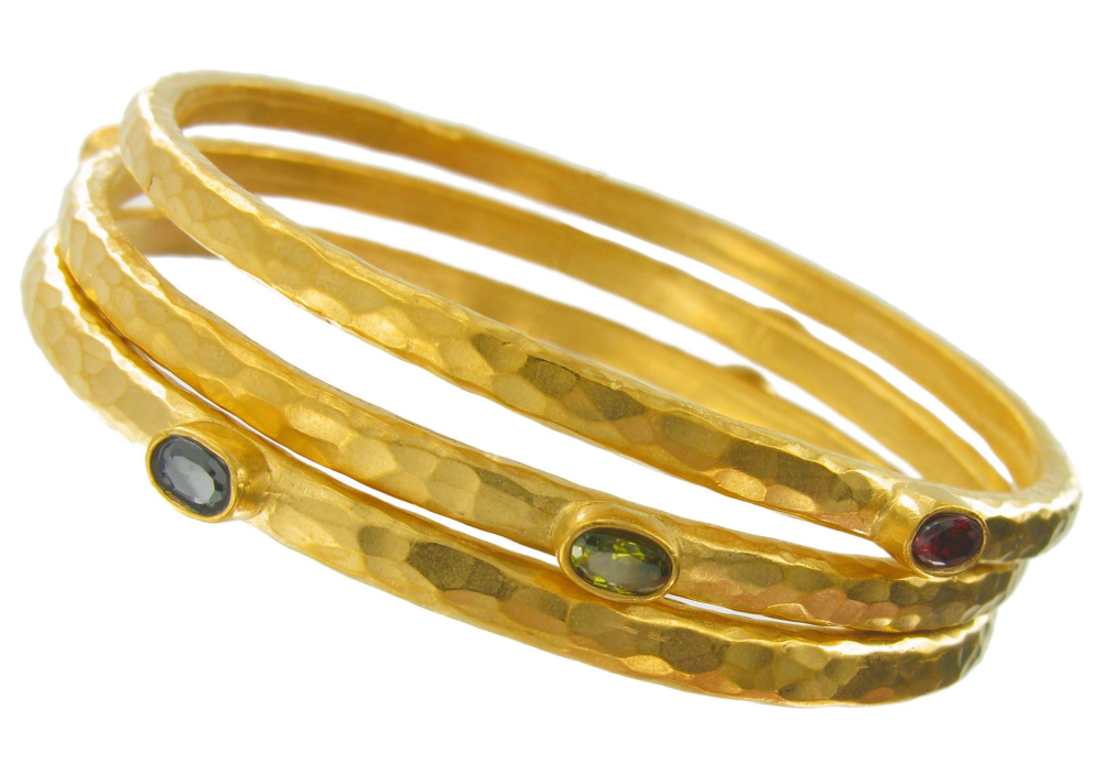 Gold Hammered Set of Three Bangles w/Oval CZ