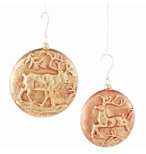Glass Deer Bas Relief Ornaments