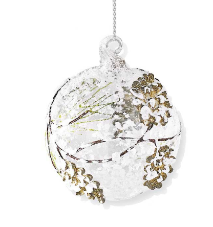 Clear Glass Ornament w/Pinecone & Evergreen Detail