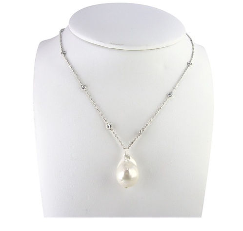 Diamond by Yard Vermeil Necklace w/Fresh Water Pearl