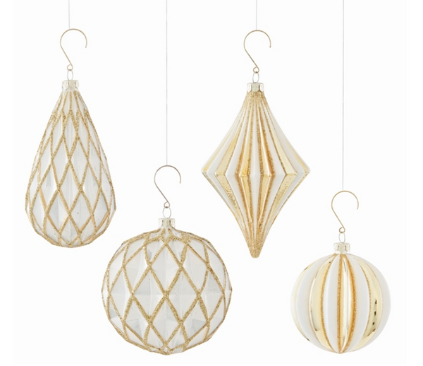 Glass Gold Trimmed Geometric Ornaments