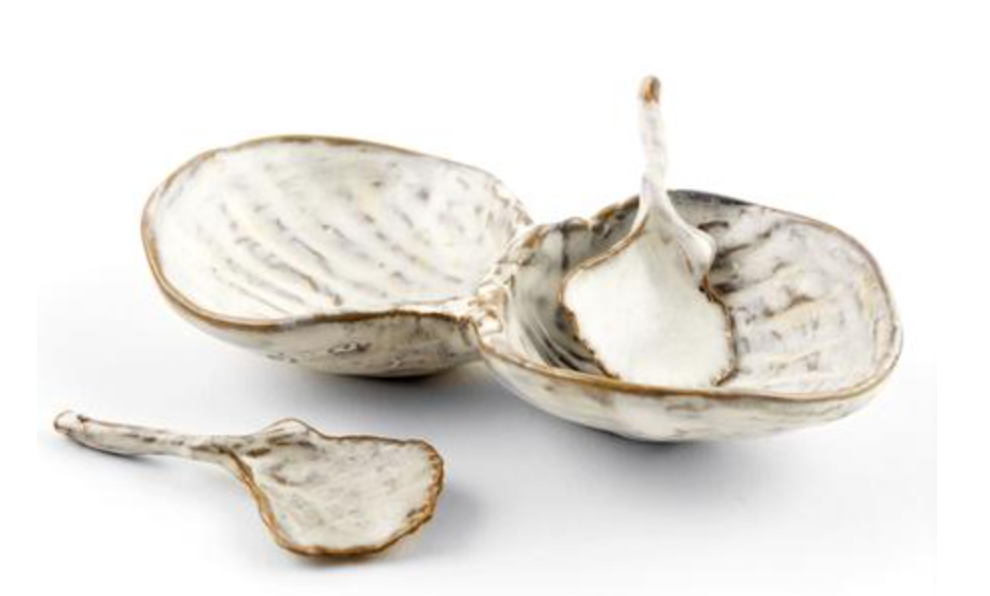 Two Duck Clam Spoons w/Cherrystone Clam Salt & Pepper Dish