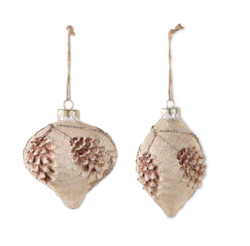 Cream Mesh Wrapped Glass with Glitter Pinecone Ornament